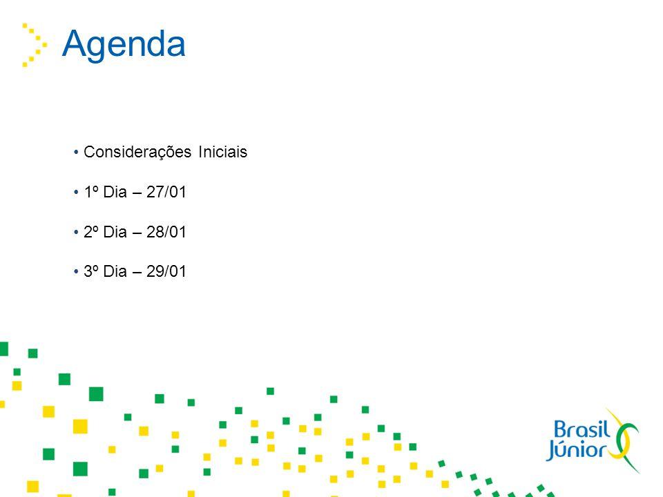 Agenda Considerações Iniciais 1º Dia – 27/01 2º Dia – 28/01 3º Dia – 29/01