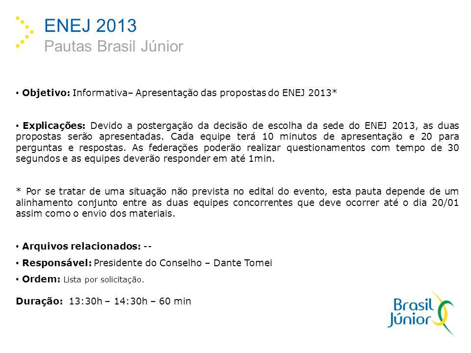 ENEJ 2013 Pautas Brasil Júnior Objetivo: Informativa– Apresentação das propostas do ENEJ 2013* Explicações: Devido a postergação da decisão de escolha da sede do ENEJ 2013, as duas propostas serão apresentadas.