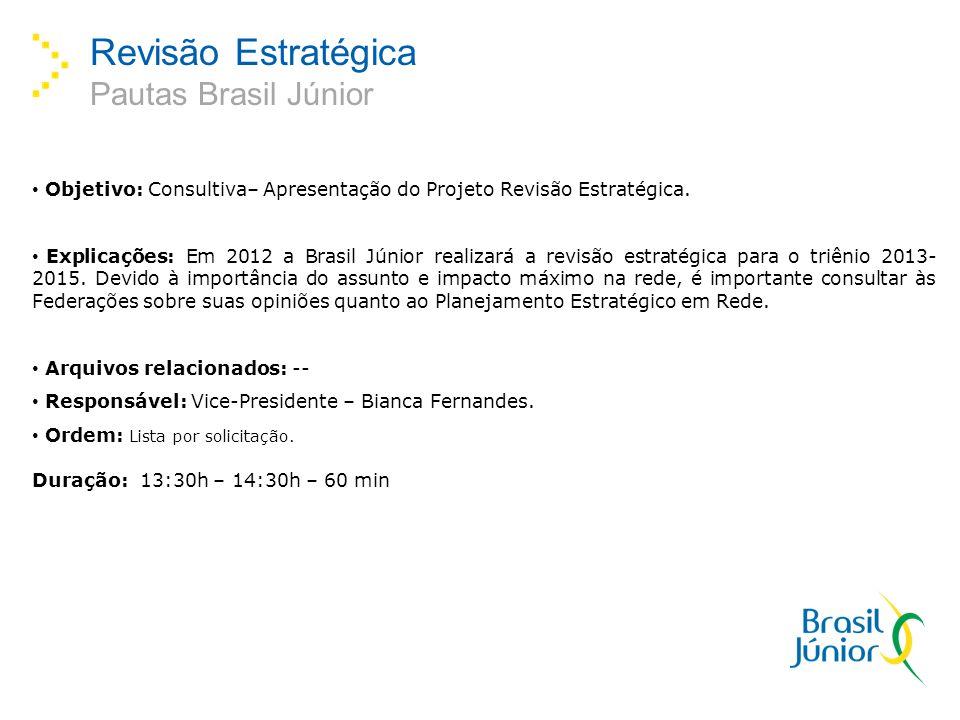 Revisão Estratégica Pautas Brasil Júnior Objetivo: Consultiva– Apresentação do Projeto Revisão Estratégica. Explicações: Em 2012 a Brasil Júnior reali