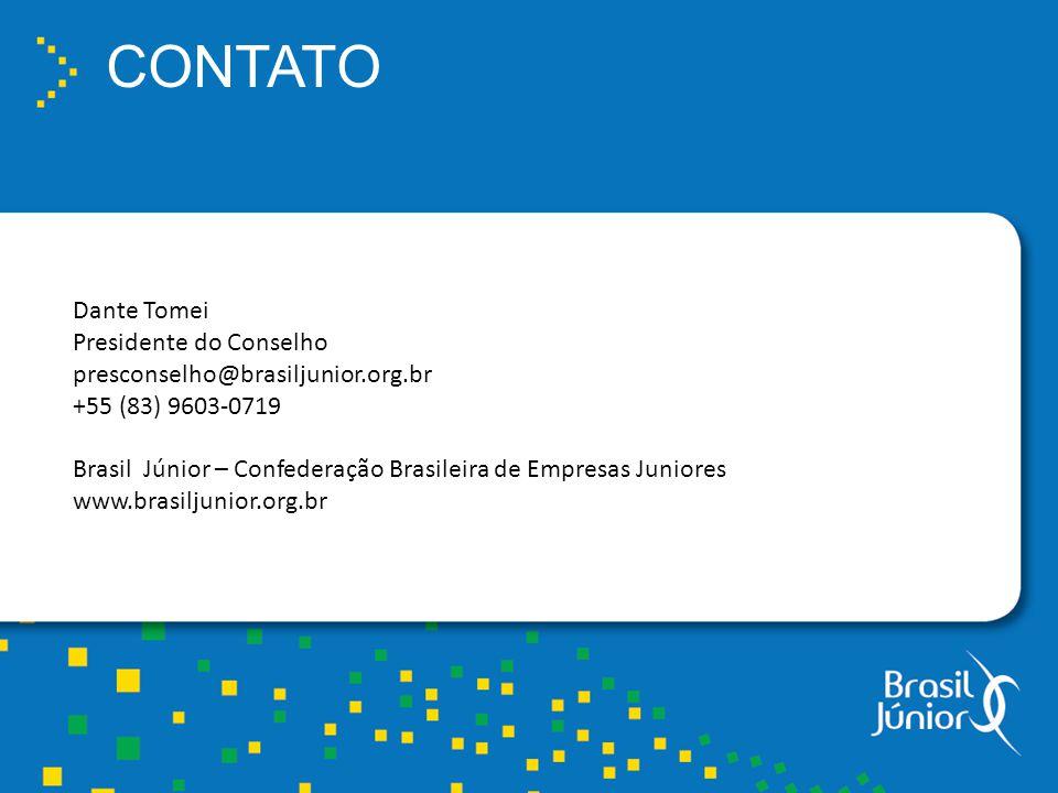 CONTATO Dante Tomei Presidente do Conselho presconselho@brasiljunior.org.br +55 (83) 9603-0719 Brasil Júnior – Confederação Brasileira de Empresas Juniores www.brasiljunior.org.br