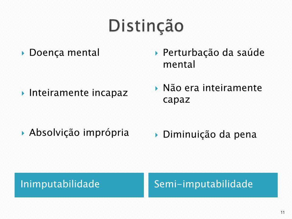 InimputabilidadeSemi-imputabilidade Doença mental Inteiramente incapaz Absolvição imprópria Perturbação da saúde mental Não era inteiramente capaz Dim