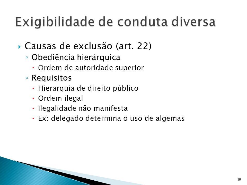 Causas de exclusão (art. 22) Obediência hierárquica Ordem de autoridade superior Requisitos Hierarquia de direito público Ordem ilegal Ilegalidade não
