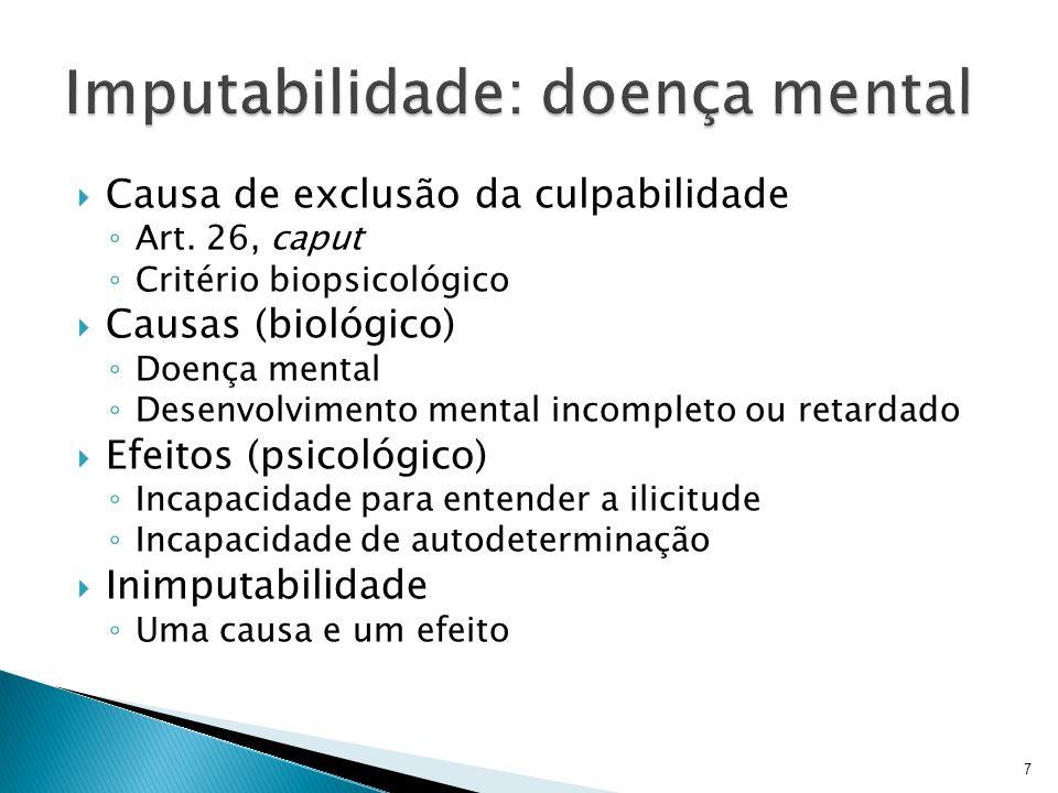 Causa de exclusão da culpabilidade Art. 26, caput Critério biopsicológico Causas (biológico) Doença mental Desenvolvimento mental incompleto ou retard