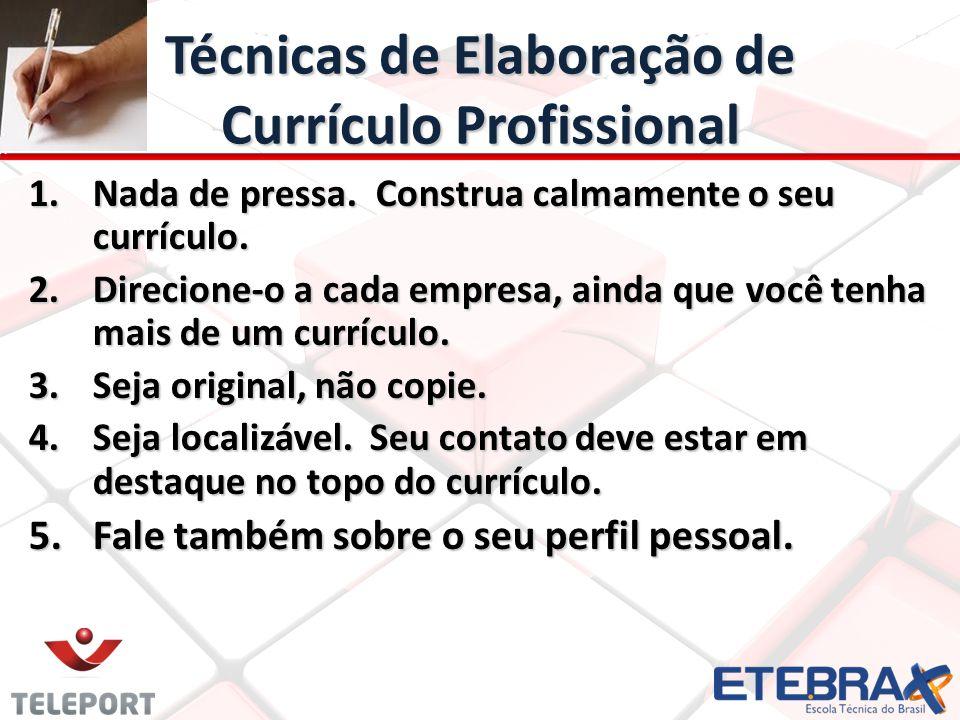 Técnicas de Elaboração de Currículo Profissional 6.
