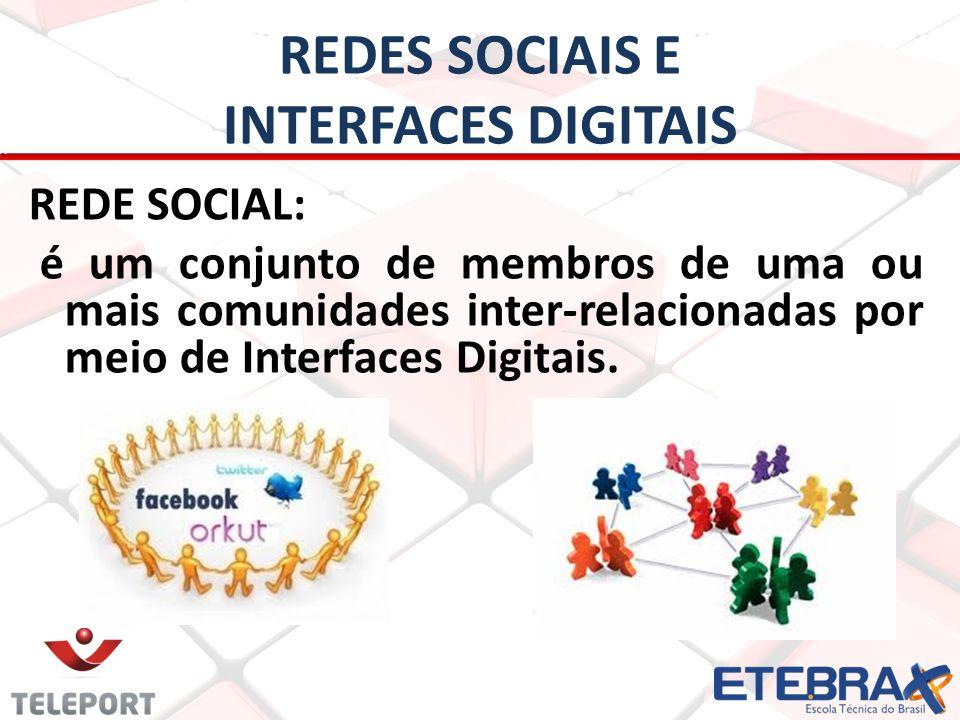 REDES SOCIAIS E INTERFACES DIGITAIS REDE SOCIAL: é um conjunto de membros de uma ou mais comunidades inter-relacionadas por meio de Interfaces Digitai