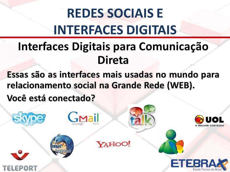 REDES SOCIAIS E INTERFACES DIGITAIS Interfaces Digitais para Comunicação Direta Essas são as interfaces mais usadas no mundo para relacionamento socia