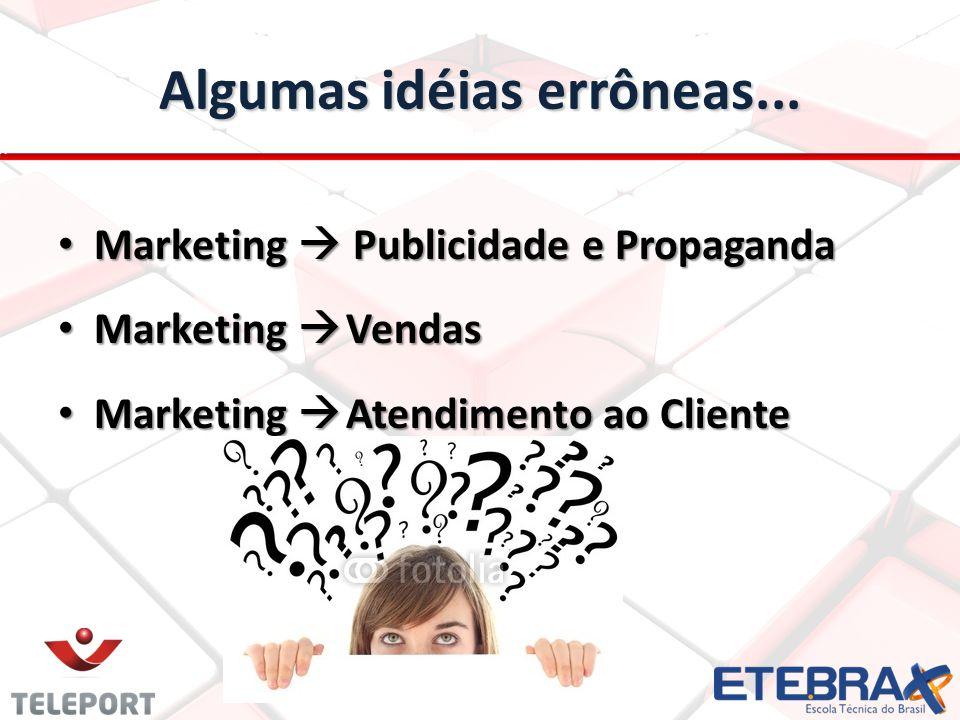 Algumas idéias errôneas... Marketing Publicidade e Propaganda Marketing Publicidade e Propaganda Marketing Vendas Marketing Vendas Marketing Atendimen