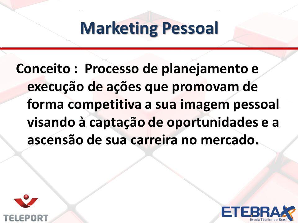 Marketing Pessoal. Conceito : Processo de planejamento e execução de ações que promovam de forma competitiva a sua imagem pessoal visando à captação d