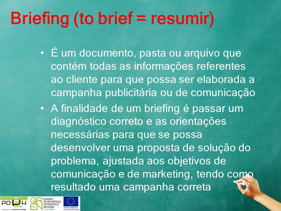 Briefing (to brief = resumir) É um documento, pasta ou arquivo que contém todas as informações referentes ao cliente para que possa ser elaborada a ca