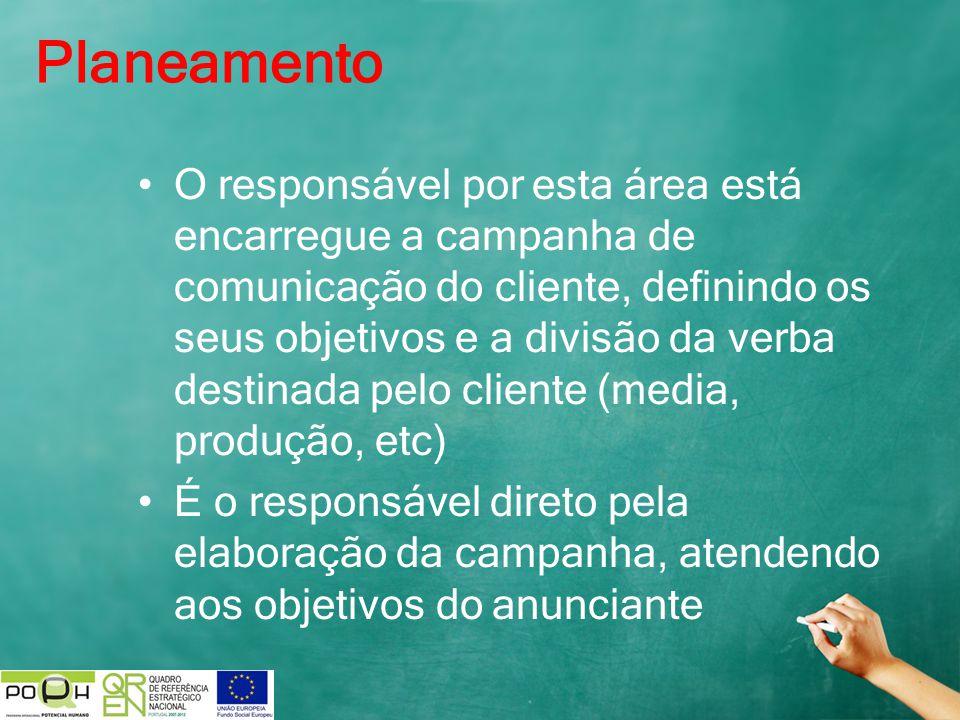 Planeamento O responsável por esta área está encarregue a campanha de comunicação do cliente, definindo os seus objetivos e a divisão da verba destina