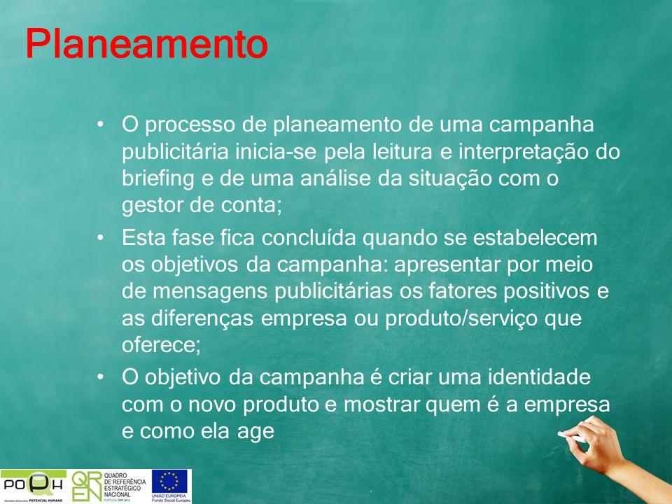 Planeamento O processo de planeamento de uma campanha publicitária inicia-se pela leitura e interpretação do briefing e de uma análise da situação com