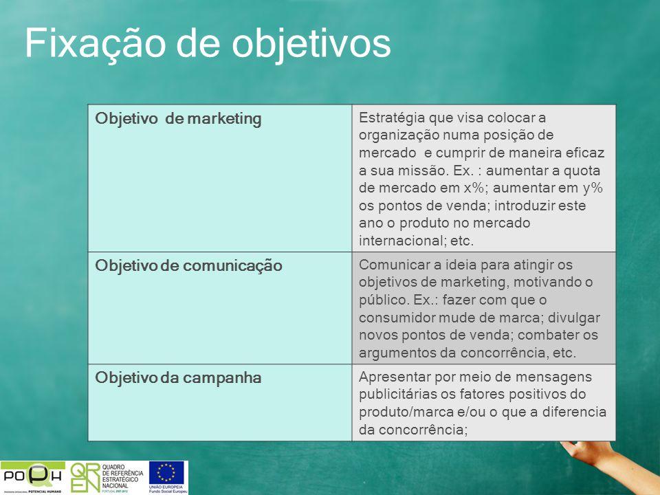 Fixação de objetivos Objetivo de marketing Estratégia que visa colocar a organização numa posição de mercado e cumprir de maneira eficaz a sua missão.