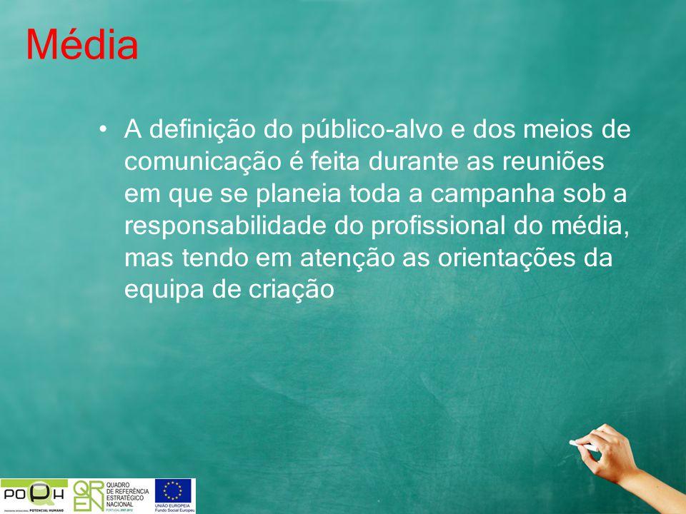 Média A definição do público-alvo e dos meios de comunicação é feita durante as reuniões em que se planeia toda a campanha sob a responsabilidade do p