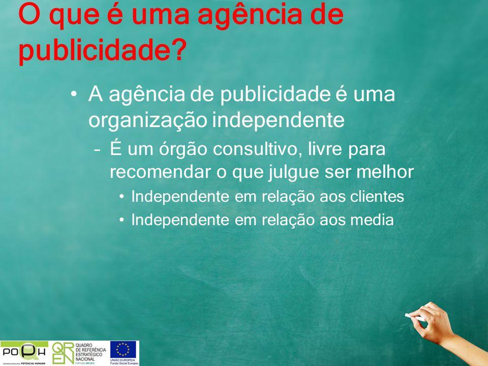 A agência de publicidade é uma organização independente –É um órgão consultivo, livre para recomendar o que julgue ser melhor Independente em relação