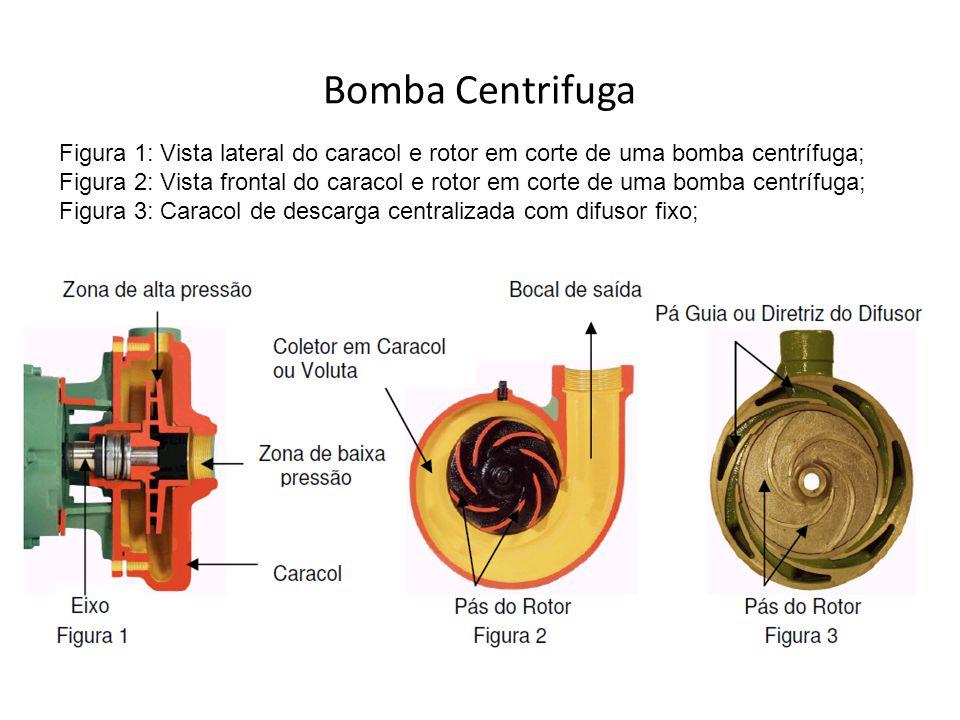 Bomba Centrifuga Figura 1: Vista lateral do caracol e rotor em corte de uma bomba centrífuga; Figura 2: Vista frontal do caracol e rotor em corte de u