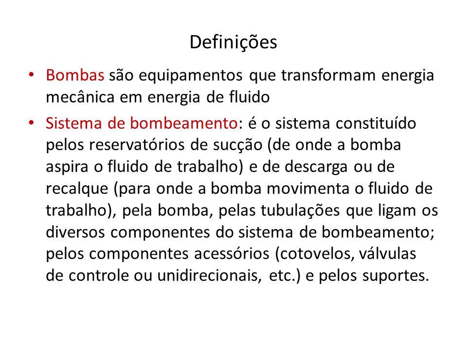 Definições Bombas são equipamentos que transformam energia mecânica em energia de fluido Sistema de bombeamento: é o sistema constituído pelos reserva