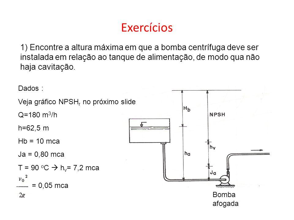 Exercícios 1) Encontre a altura máxima em que a bomba centrífuga deve ser instalada em relação ao tanque de alimentação, de modo qua não haja cavitaçã