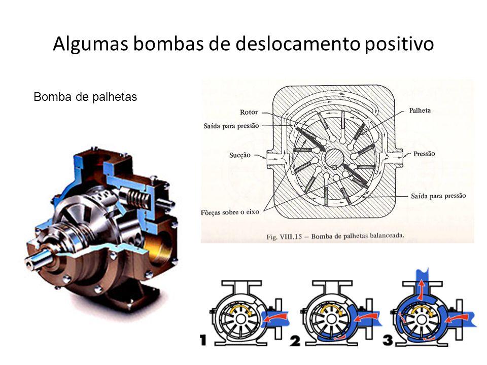 Algumas bombas de deslocamento positivo Bomba de palhetas