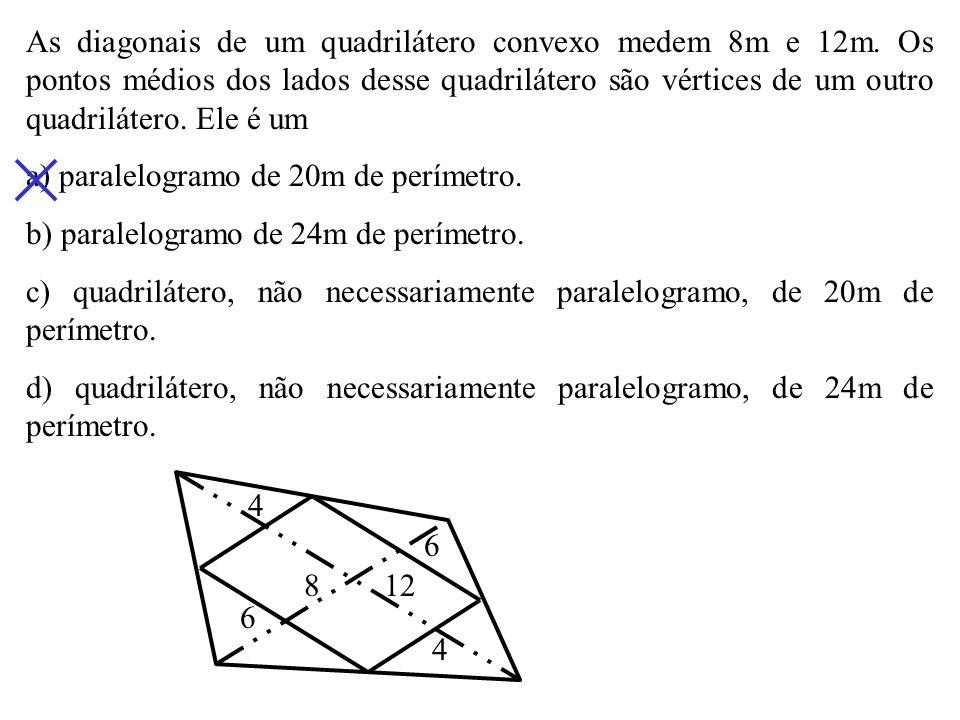As bases de um trapézio medem 4cm e 12cm. As diagonais desse trapézio dividem sua base média em três segmentos adjacentes proporcionais a a) 1, 2 e 1.