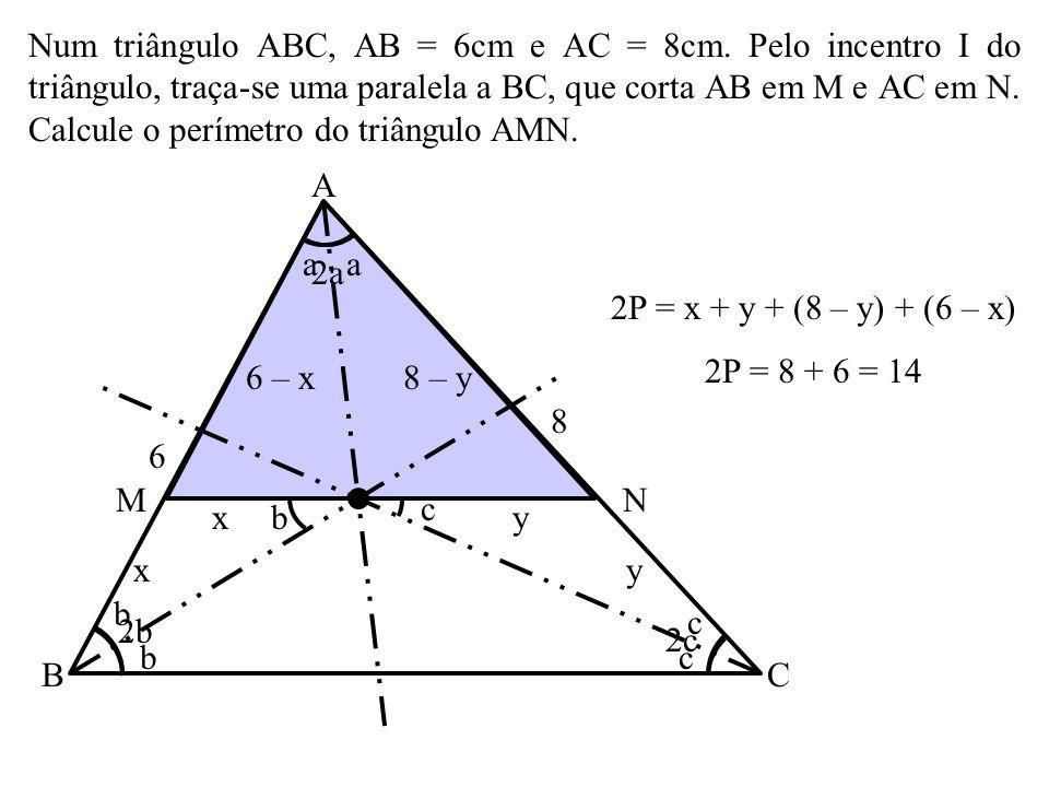 Em um triângulo, o ponto de encontro das bissetrizes internas, o ponto de encontro das alturas, o ponto de encontro das medianas e o ponto de encontro