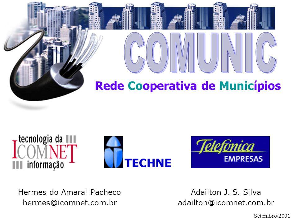 Setembro/2001 Rede COMUNIC Compartilhamento Aplicações Infra-estrutura Pessoal Técnico Modularidade A solução é modular e ampliável Os módulos são independentes e integráveis Conceitos