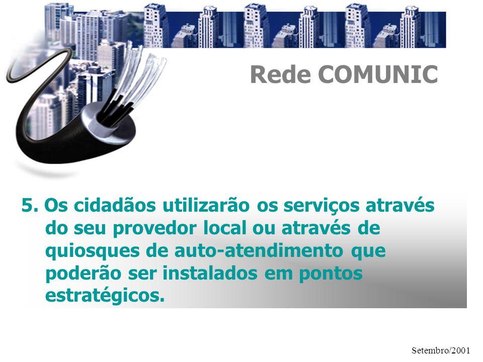 Setembro/2001 5. Os cidadãos utilizarão os serviços através do seu provedor local ou através de quiosques de auto-atendimento que poderão ser instalad