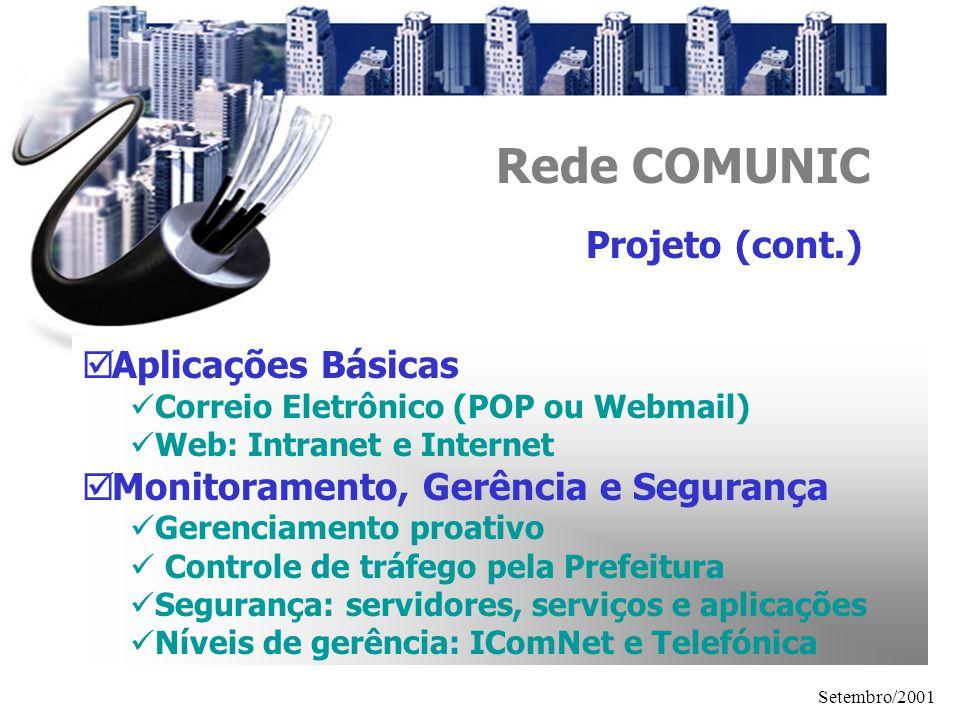 Setembro/2001 Rede COMUNIC Aplicações Básicas Correio Eletrônico (POP ou Webmail) Web: Intranet e Internet Monitoramento, Gerência e Segurança Gerenci