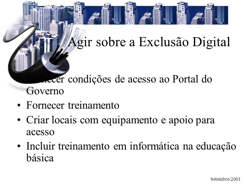 Setembro/2001 Agir sobre a Exclusão Digital Fornecer condições de acesso ao Portal do Governo Fornecer treinamento Criar locais com equipamento e apoi