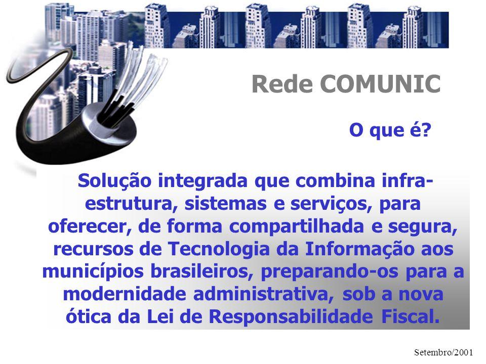 Setembro/2001 Rede COMUNIC O que é? Solução integrada que combina infra- estrutura, sistemas e serviços, para oferecer, de forma compartilhada e segur
