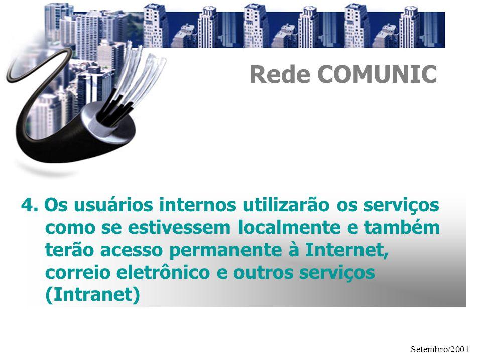 Setembro/2001 4. Os usuários internos utilizarão os serviços como se estivessem localmente e também terão acesso permanente à Internet, correio eletrô
