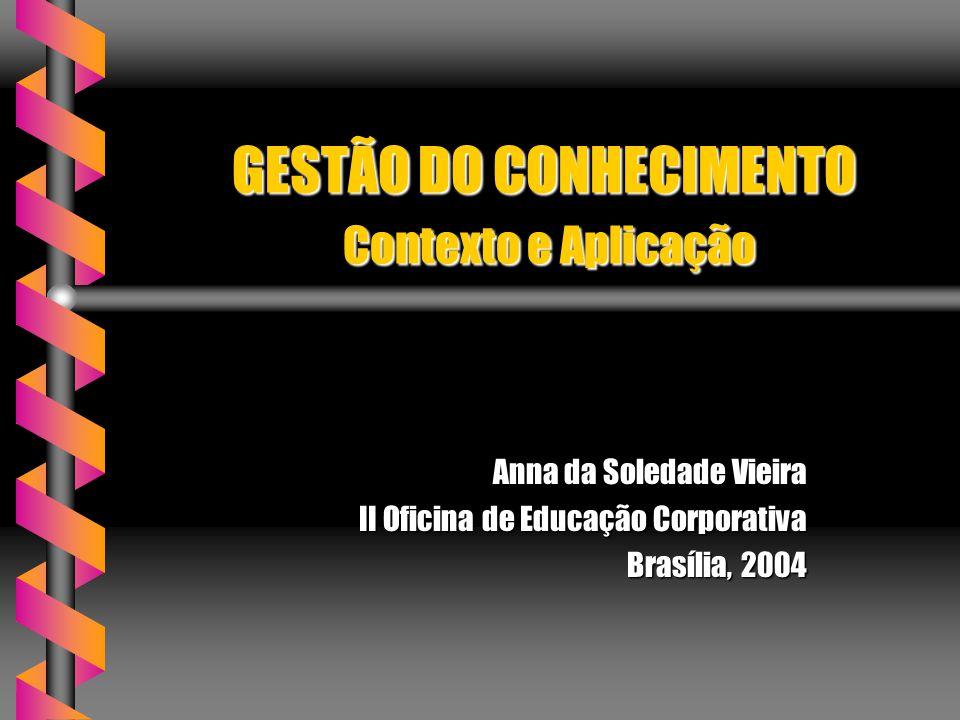 GESTÃO DO CONHECIMENTO Contexto e Aplicação Anna da Soledade Vieira II Oficina de Educação Corporativa Brasília, 2004