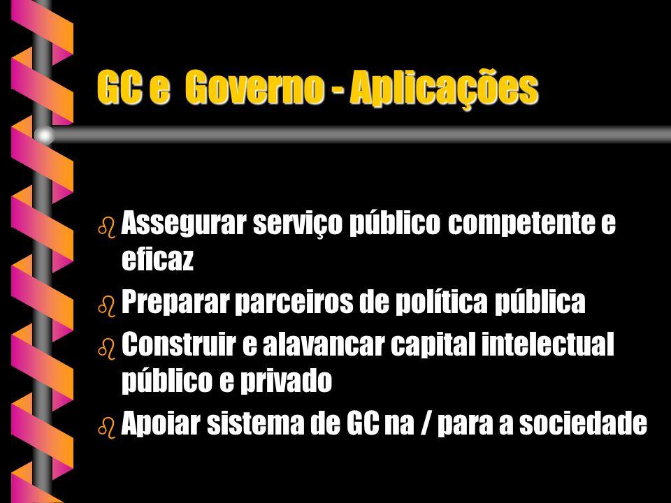 GC e Governo - Aplicações b Assegurar serviço público competente e eficaz b Preparar parceiros de política pública b Construir e alavancar capital int