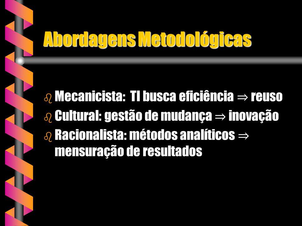 Abordagens Metodológicas b Mecanicista: TI busca eficiência reuso b Cultural: gestão de mudança inovação b Racionalista: métodos analíticos mensuração