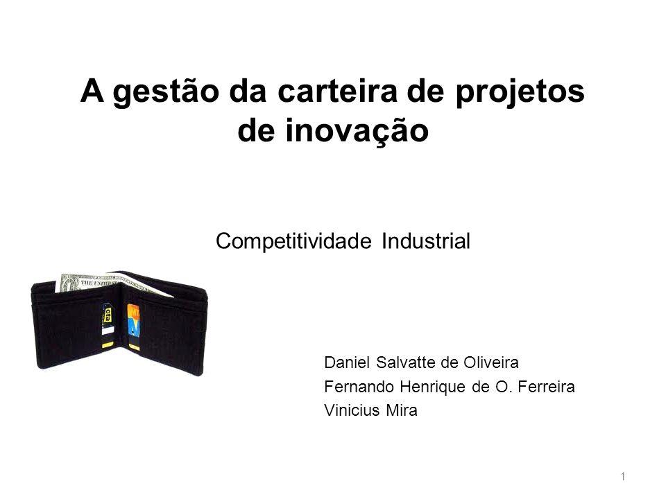 Sumário Objetivo Tipos de Projetos Tipos de Carteiras Modelo de Carteira de Projetos de Inovação Perguntas Considerações Finais 2