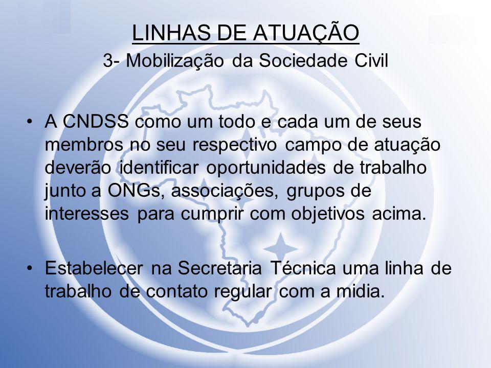 LINHAS DE ATUAÇÃO 3- Mobilização da Sociedade Civil A CNDSS como um todo e cada um de seus membros no seu respectivo campo de atuação deverão identifi