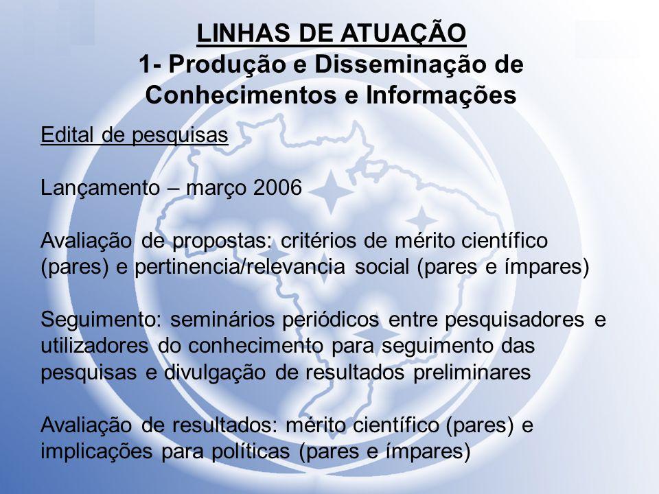 LINHAS DE ATUAÇÃO 1- Produção e Disseminação de Conhecimentos e Informações Edital de pesquisas Lançamento – março 2006 Avaliação de propostas: critér