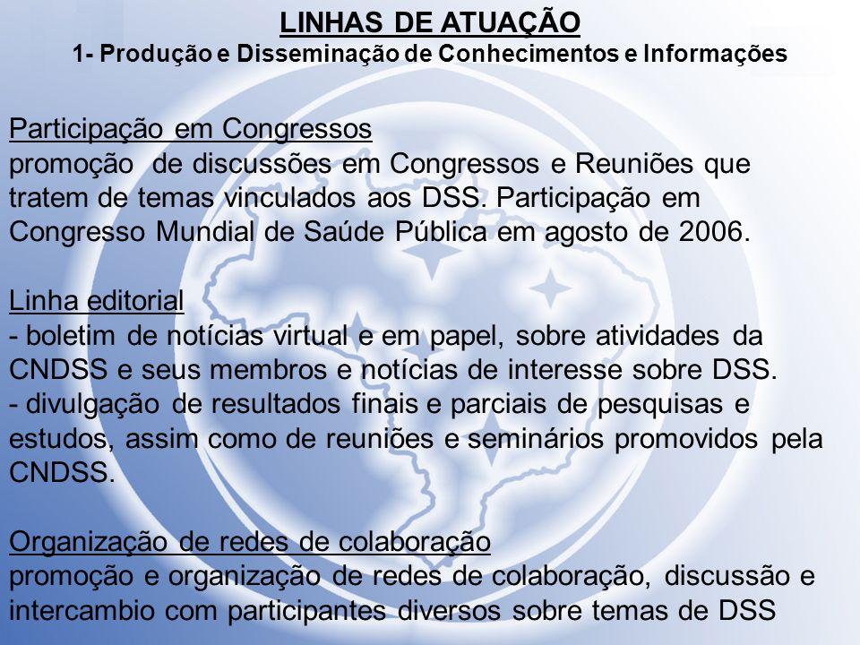 LINHAS DE ATUAÇÃO 2- Políticas e Programas Objetivo: Promoção, apoio, elaboração, coordenação, seguimento e avaliação de políticas, programas e intervenções governamentais e não-governamentais realizadas em nível local, regional e nacional.