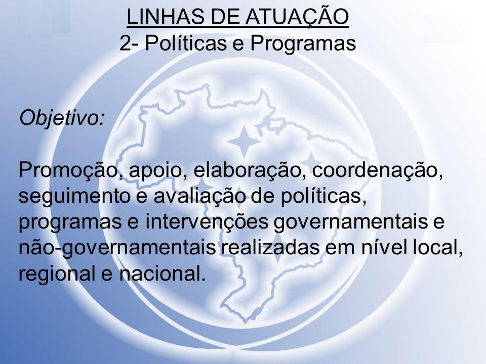 LINHAS DE ATUAÇÃO 2- Políticas e Programas Na 1ª.