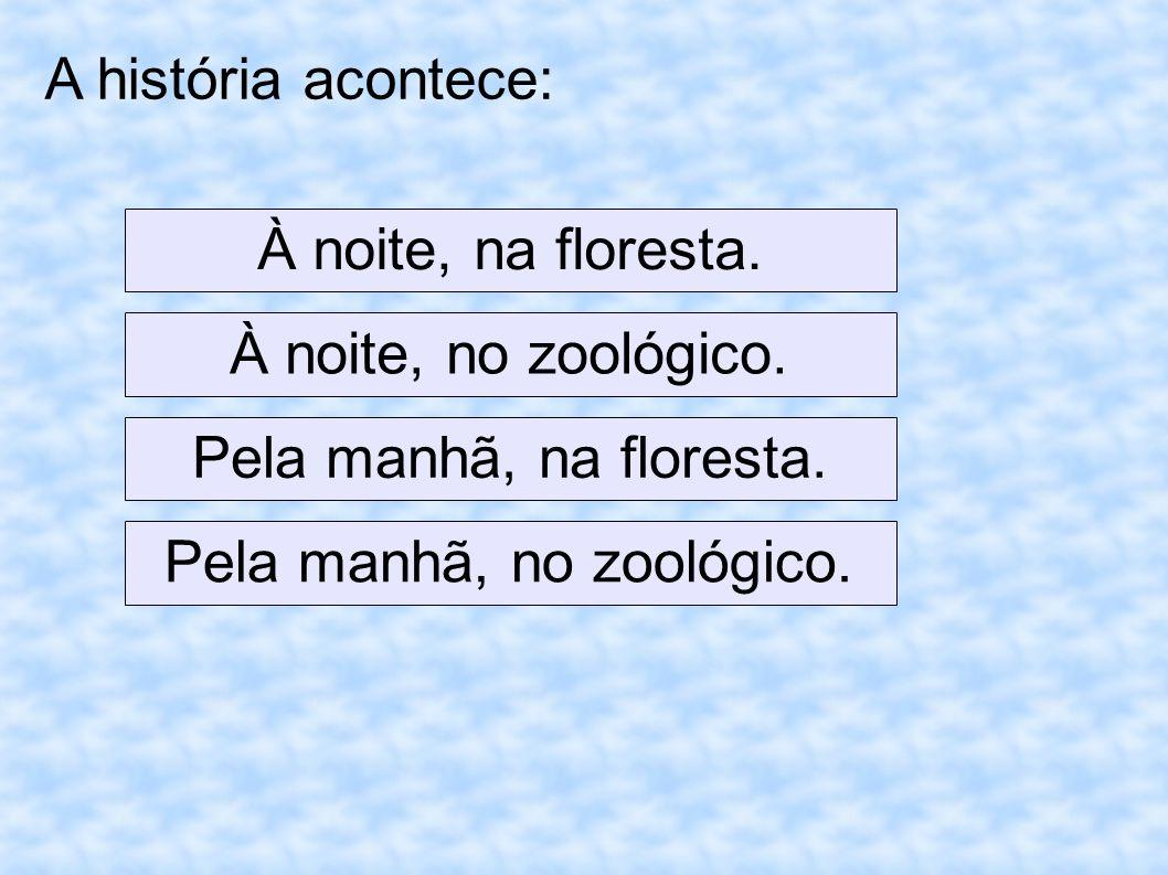 A história acontece: À noite, na floresta. À noite, no zoológico. Pela manhã, na floresta. Pela manhã, no zoológico.