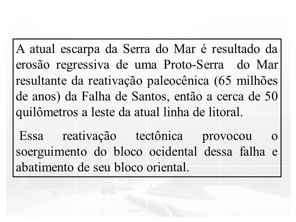 A atual escarpa da Serra do Mar é resultado da erosão regressiva de uma Proto-Serra do Mar resultante da reativação paleocênica (65 milhões de anos) d