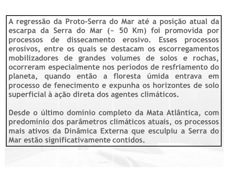 A regressão da Proto-Serra do Mar até a posição atual da escarpa da Serra do Mar (~ 50 Km) foi promovida por processos de dissecamento erosivo. Esses