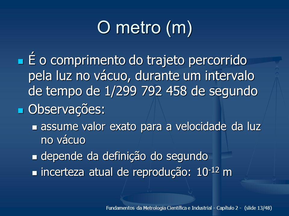 Fundamentos da Metrologia Científica e Industrial - Capítulo 2 - (slide 13/48) O metro (m) É o comprimento do trajeto percorrido pela luz no vácuo, durante um intervalo de tempo de 1/299 792 458 de segundo É o comprimento do trajeto percorrido pela luz no vácuo, durante um intervalo de tempo de 1/299 792 458 de segundo Observações: Observações: assume valor exato para a velocidade da luz no vácuo assume valor exato para a velocidade da luz no vácuo depende da definição do segundo depende da definição do segundo incerteza atual de reprodução: 10 -12 m incerteza atual de reprodução: 10 -12 m