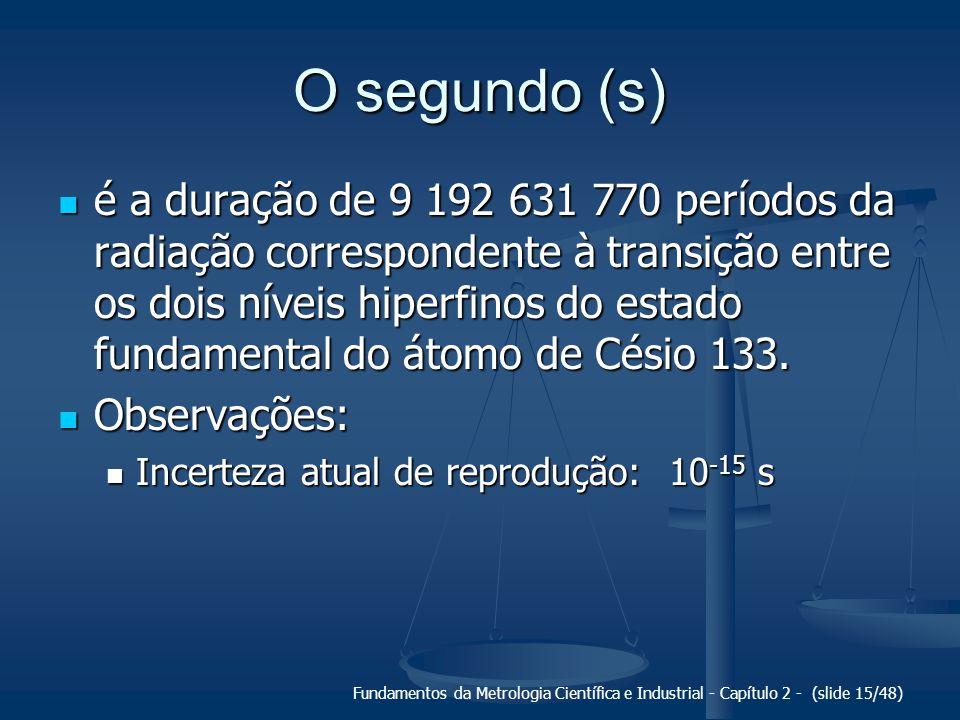 Fundamentos da Metrologia Científica e Industrial - Capítulo 2 - (slide 15/48) O segundo (s) é a duração de 9 192 631 770 períodos da radiação correspondente à transição entre os dois níveis hiperfinos do estado fundamental do átomo de Césio 133.