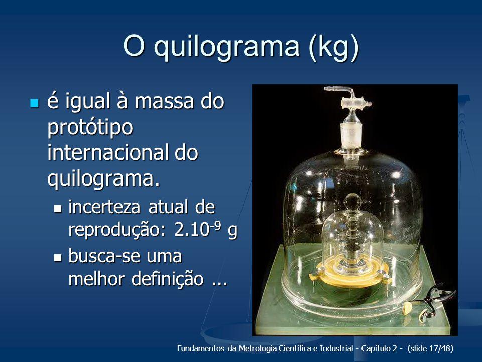 Fundamentos da Metrologia Científica e Industrial - Capítulo 2 - (slide 17/48) O quilograma (kg) é igual à massa do protótipo internacional do quilograma.