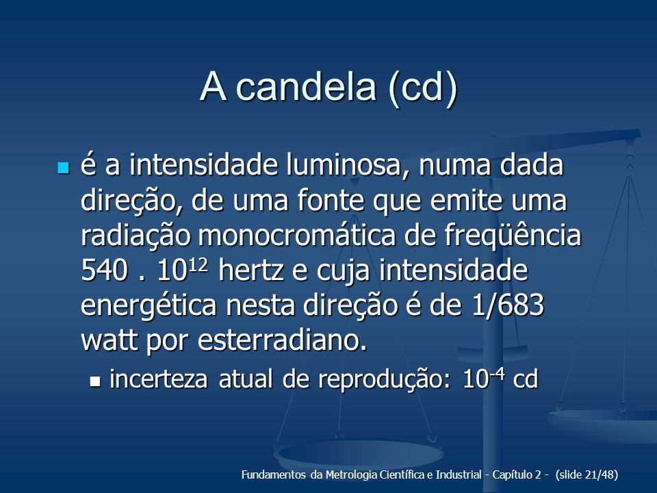 Fundamentos da Metrologia Científica e Industrial - Capítulo 2 - (slide 21/48) A candela (cd) é a intensidade luminosa, numa dada direção, de uma fonte que emite uma radiação monocromática de freqüência 540.