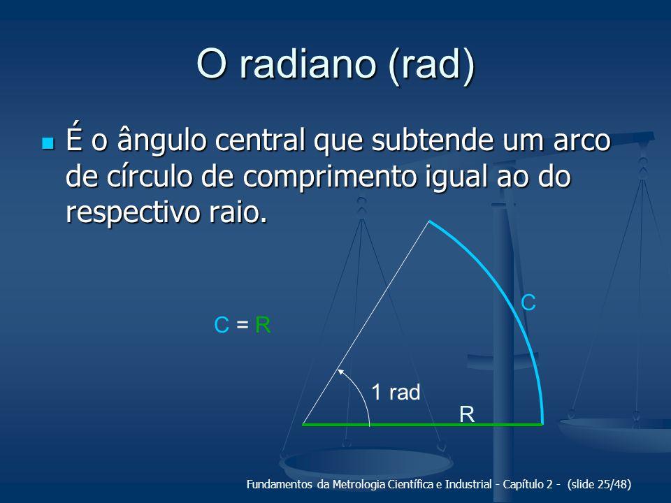 Fundamentos da Metrologia Científica e Industrial - Capítulo 2 - (slide 25/48) C O radiano (rad) É o ângulo central que subtende um arco de círculo de comprimento igual ao do respectivo raio.