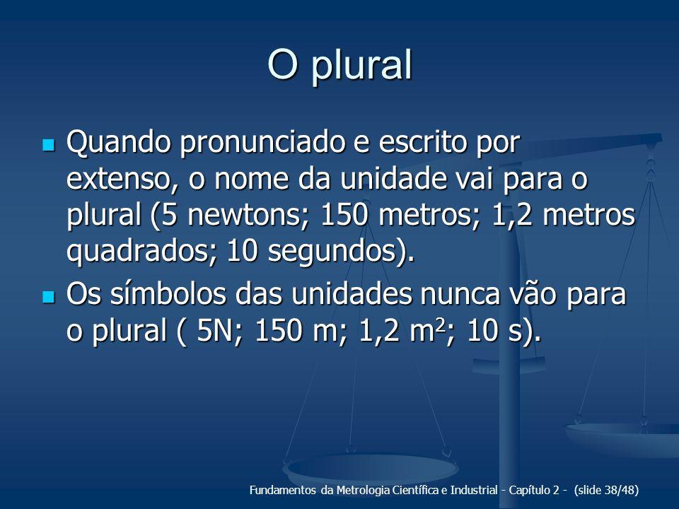 Fundamentos da Metrologia Científica e Industrial - Capítulo 2 - (slide 38/48) O plural Quando pronunciado e escrito por extenso, o nome da unidade vai para o plural (5 newtons; 150 metros; 1,2 metros quadrados; 10 segundos).