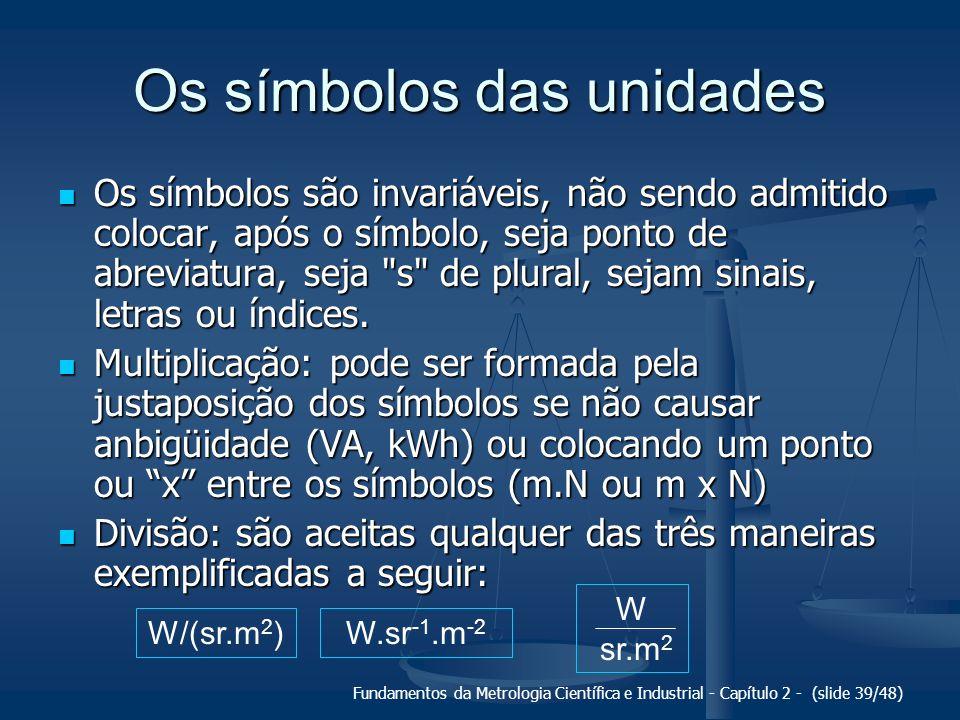 Fundamentos da Metrologia Científica e Industrial - Capítulo 2 - (slide 39/48) Os símbolos das unidades Os símbolos são invariáveis, não sendo admitido colocar, após o símbolo, seja ponto de abreviatura, seja s de plural, sejam sinais, letras ou índices.