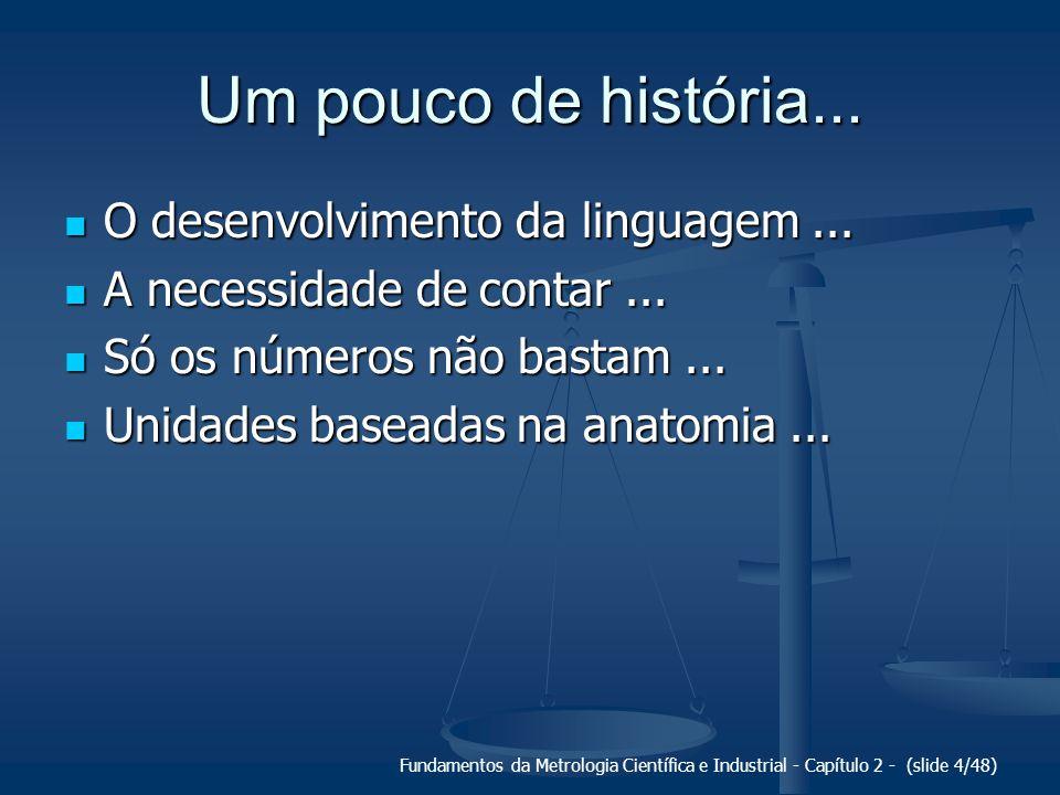 Fundamentos da Metrologia Científica e Industrial - Capítulo 2 - (slide 4/48) Um pouco de história... O desenvolvimento da linguagem... O desenvolvime