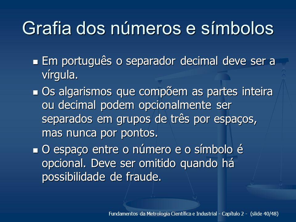Fundamentos da Metrologia Científica e Industrial - Capítulo 2 - (slide 40/48) Grafia dos números e símbolos Em português o separador decimal deve ser a vírgula.